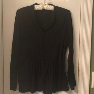 Top with covered buttons black